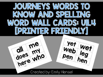Journeys First Grade Words to Know and Spelling Word Wall Cards U1L4