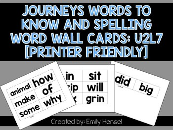 Journeys First Grade Words to Know and Spelling Word Wall Cards U2L7