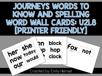 Journeys First Grade Words to Know and Spelling Word Wall Cards U2L8