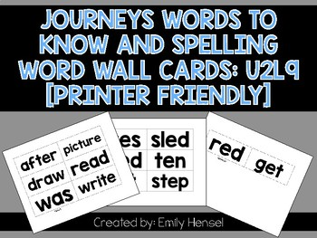 Journeys First Grade Words to Know and Spelling Word Wall Cards U2L9