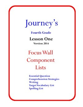 Houghton Mifflin Journey's Focus Wall Posters 4th Grade Version 2014
