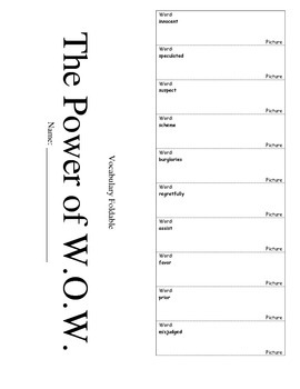 Journeys Fourth Grade Lesson 4 Vocabulary Foldable; The Power of WOW