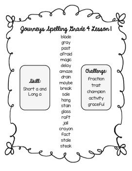 Journeys Fourth Grade Spelling Lists