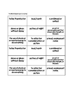 Journeys Fourth Grade Tic Tac Know! Vocabulary Unit 5