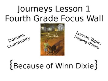 Journeys Fourth Grade Unit 1 Focus Wall