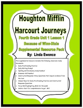 Journeys Fourth Grade Unit 1 Lesson 1 - Because of Winn-Dixie Supplemental Pack