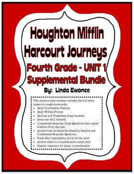 Journeys 4th Grade Unit 1 Supplemental Bundle (2012 Common Core Aligned Version)