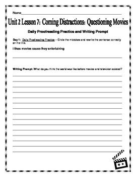 Journeys Fourth Grade Unit 2 Lesson 7 - Coming Distractions: Questioning Movies