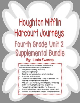 Journeys 4th Grade Unit 2 Supplemental Bundle (2012 Common