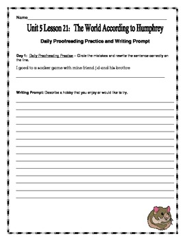 Journeys Fourth Grade Unit 5 Lesson 21 - The World According to Humphrey Pack