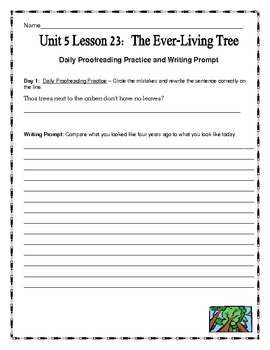 Journeys Fourth Grade  Unit 5 Lesson 23 - The Ever-Living Tree Supplemental Pack