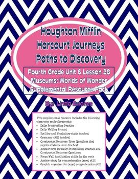 Journeys Fourth Grade Unit 6 Lesson 28-Museums: Worlds of Wonder Supplemental Pk