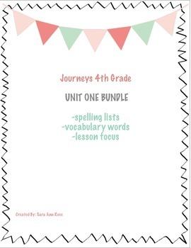 Journeys Fourth Grade Unit One