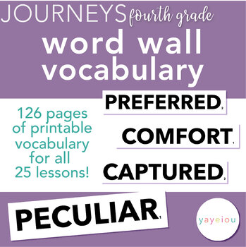 Journeys - Fourth Grade Vocabulary - Word Wall Resource