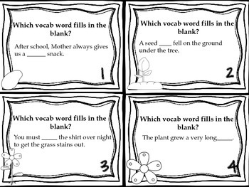 Journeys From Seed to Plant Vocabulary, Phonics, and Grammar Task Cards