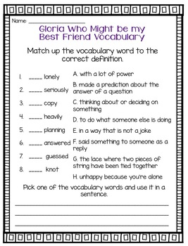 Journeys Gloria Who Might be my Best Friend Grade 2 {Editable}