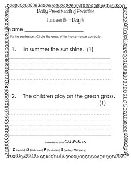 Journeys   Grade 1   Lesson 13    Daily Proofreading Practice