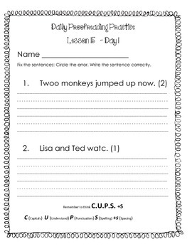 Journeys    Grade 1    Lesson 15   Daily Proofreading Packet