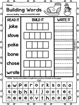Journeys Grade 1 Spelling Word Building Lessons: 16-20 and Review Page