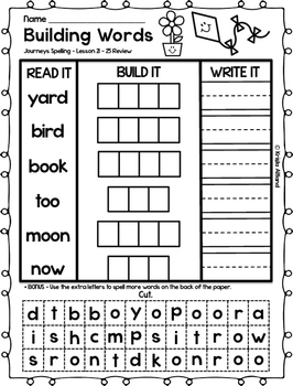 Journeys Grade 1 Spelling Word Building Lessons: 21-25 and Review Page