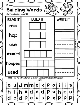 Journeys Grade 1 Spelling Word Building Lessons: 26-30 and Review Page