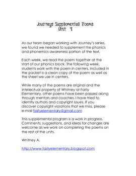 Journeys Grade 1 Unit 4 Supplemental Poems