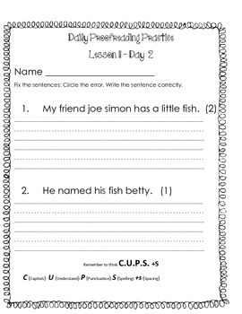 Journeys Grade 1 lesson 11 Daily Proofreading Practice