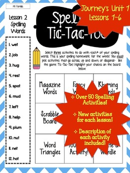 Journey's Grade 2 Lessons 1-6 Spelling Tic-Tac-Toe 50+ Activity Pack!