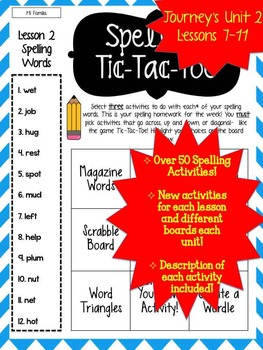 Journey's Grade 2 Lessons 7-11 Spelling Tic-Tac-Toe 50+ Activity Pack!