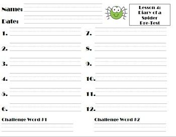 Journeys Grade 2 Spelling Pre-Tests