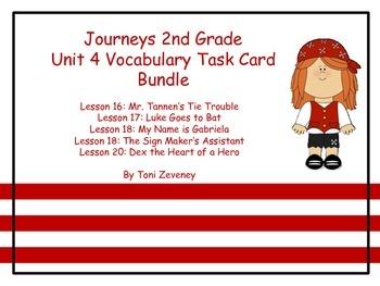 Journeys Grade 2 Unit 4 Vocabulary Task Card Bundle