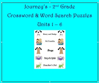 Journey's Grade 2 Word Search & Crossword Puzzles Units 1 - 6