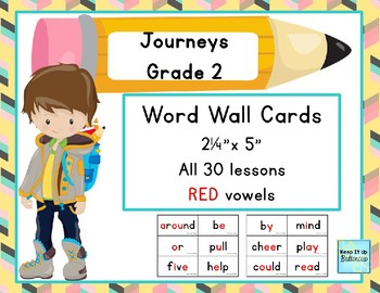 Journeys Grade 2 Word Wall Cards with Red Vowels