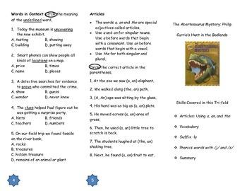 "Journeys Grade 3; Lesson 15: ""The Albertosaurus Mystery"" Trifold"