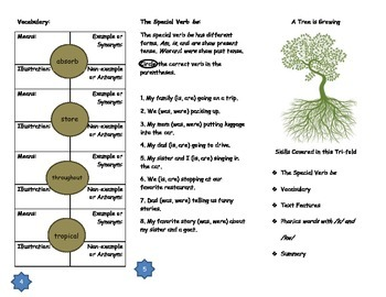 """Journeys Grade 3; Lesson 20: """"A Tree is Growing"""" Trifold"""