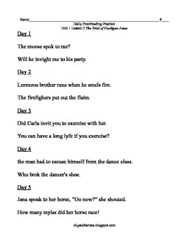 Journeys Grade 3 Proofreading Sentences