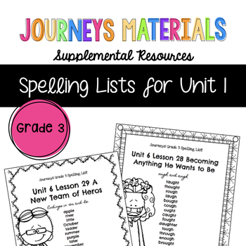 Journeys Grade 3 Spelling Lists Unit 1 (Melonheadz Edition)