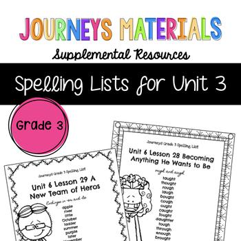Journeys Grade 3 Spelling Lists Unit 3 (Melonheadz Edition)