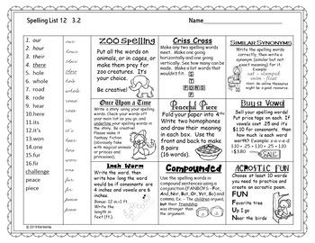 Journeys Grade 3 Spelling Tic Tac Toe - 40 lists