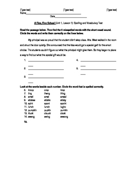 Journeys, Grade 3, Unit 1, Lesson 1 Spelling/Vocabulary Test