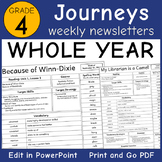 Journeys 4th Grade: Editable Weekly Newsletters WHOLE YEAR (Lessons 1-30)
