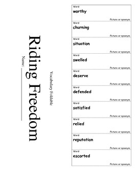 Journeys Grade 4 Lesson 16 Vocabulary Foldable; Riding Freedom