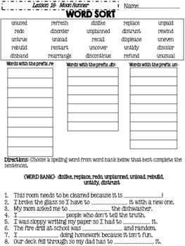 Journeys Grade 4 Lesson 18 Spelling Sort