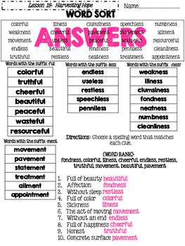 Journeys Grade 4 Lesson 19 Spelling Sort