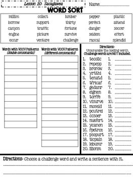 Journeys Grade 4 Lesson 20 Spelling Sort