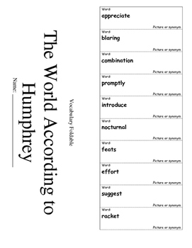 Journeys Grade 4 Lesson 21 Vocabulary Foldable; The World According to Humphrey