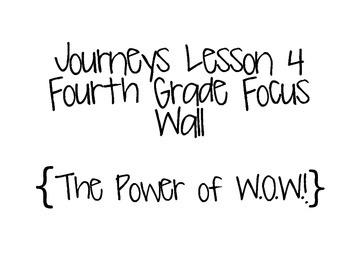 Journeys Grade 4 Lesson 4 Focus Wall