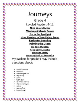 Journeys Grade 4 Leveled Readers: Lessons 4-13