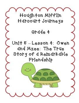 Journeys Grade 4 Supplemental Center Activities: Owen and Mzee