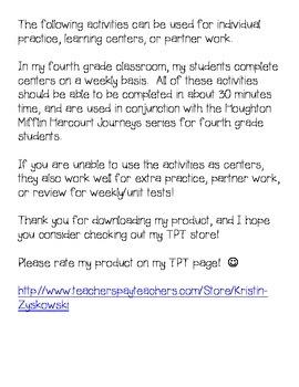 Journeys Grade 4 Supplemental Center Activities: Unit 4 Bundle